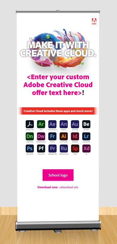 Make It With Creative Cloud custom awareness pull up banner
